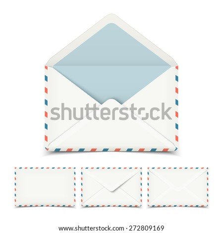 Set of four blank white vector envelopes isolated on white