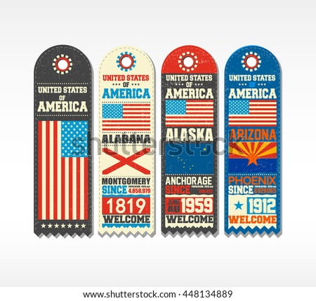 Set of four blanks with flags, cities and population, of United States Of America, Alabama, Alaska, Arizona. Elements for design with emblems and shapes.Sticker, banner, vector illustration. - stock vector