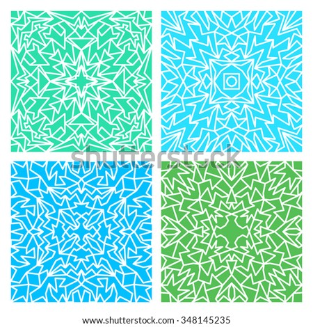 Set of four blue and green lacy quadrate seamless oriental backgrounds - stock vector