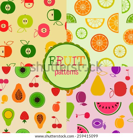 Set of four bright seamless patterns with different flat fruits and berries - stock vector