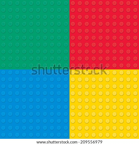 Set of four Building toy bricks. Seamless pattern. - stock vector