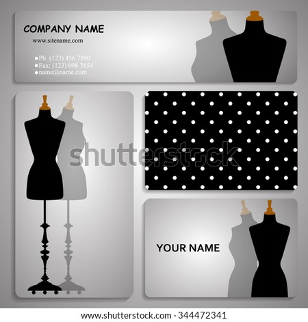 set of four business card and header templates with stylized body form dress mannequin, fashion, for greeting, invitation card, or cover. Vector illustration - stock vector