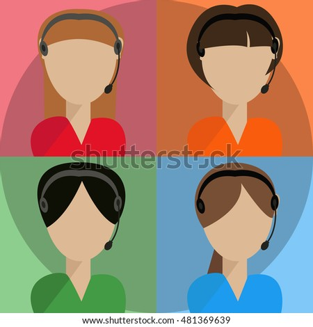 Set of four call-center operators in different colors isolated