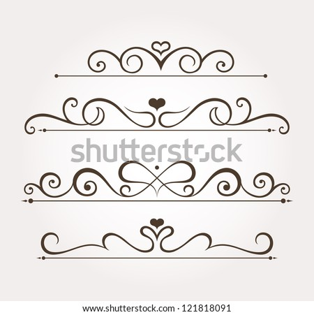 Set of four calligraphic floral valentine's day design elements and page decoration. Vector illustration - stock vector