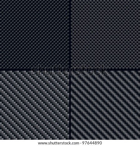 Set of Four Carbon Fiber Seamless Patterns. Vector Illustration - stock vector
