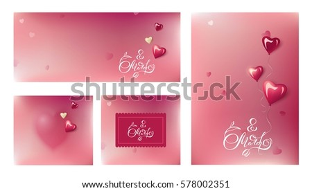 Set of four cards with blurred background and glossy heart-shaped balloons. Happy women`s day cards. Handwritten 8 march calligraphy on blurred background.  Vector illustration