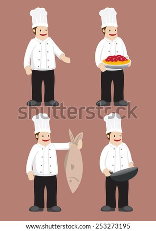 Set of four cartoon chef in white double-breasted jacket chef uniform and toque. Vector illustration isolated on grey background. - stock vector