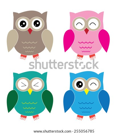 Set of four cartoon owls with various emotions. Second set of two. - stock vector