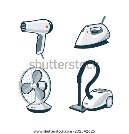 Set of four cartoon vector icons of a hair dryer, clothes iron, mechanical fan and canister vacuum cleaner. - stock vector