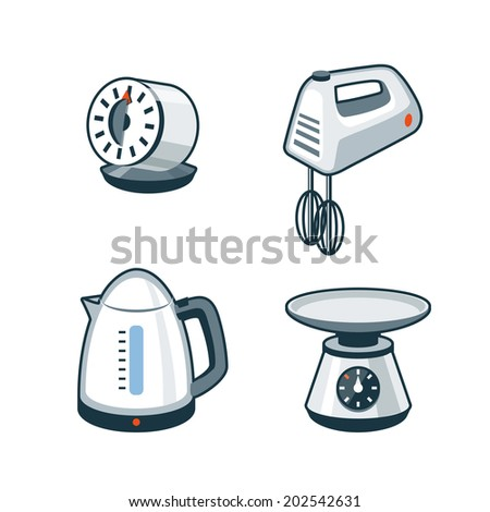 Set of four cartoon vector icons of a kitchen timer, hand mixer, electric kettle and kitchen scale.