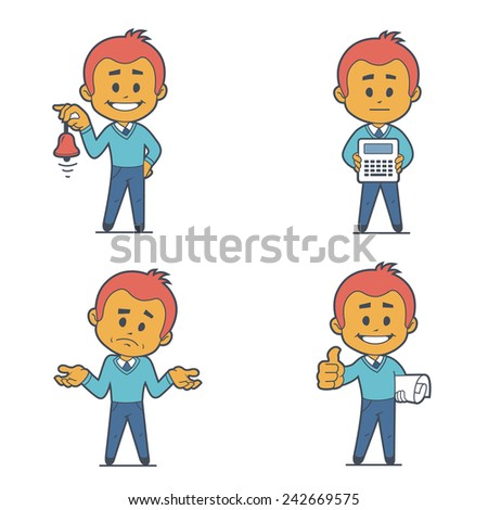 Set of four character businessmans. Flat design. - stock vector
