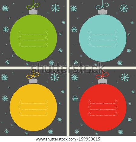 Set of four Christmas baubles in different colors with snowflakes and place for the text. - stock vector