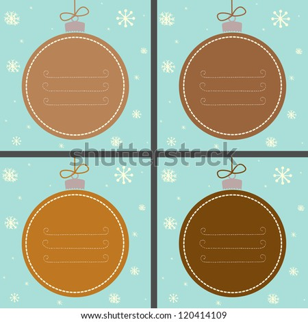 Set of four Christmas baubles painted like gingerbread with snowflakes and place for your text. Vector illustration.