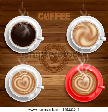 Set of four coffee cups on wooden background. Vector. - stock vector