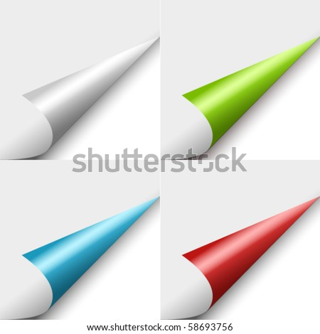 Set of four color curled corners - stock vector