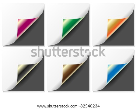 Set of four color curled corners of pages-Vector. - stock vector