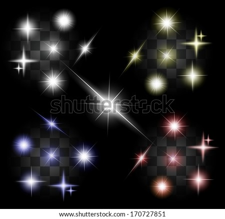 Set of four color different transparent sparkling lights - white, yellow, blue, red VECTOR - stock vector