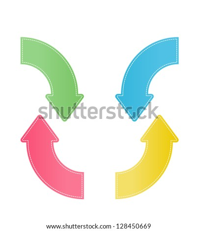 Set of four color stitch effect curve arrows. - stock vector