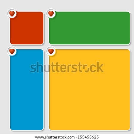 set of four colored box for any text with hearts