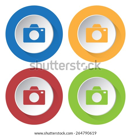 set of four colored icons with camera and stylized shadows - stock vector
