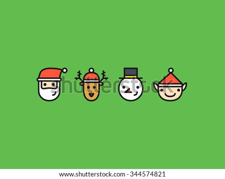 Set of four colored outline icons with Christmas characters: Santa, Reindeer, Snowman and Elf