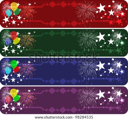 Set of four colored party banners with stars, balloon symbols. - stock vector
