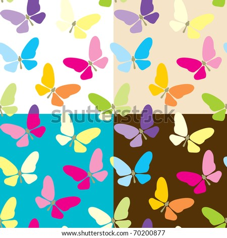 Set of four colored seamless background with butterflies - stock vector