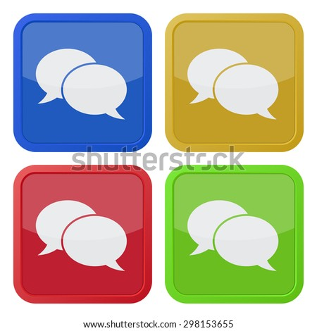 set of four colored square icons with speech bubbles