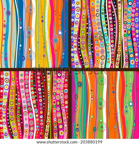 Set of four colorful line background.Strips background can be used for wallpaper, web page background,surface textures and so on - stock vector