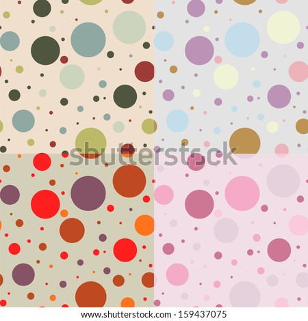 Set of four colorful seamless patterns for textile snd craft  with circles. Vintage style. Vector EPS10 - stock vector