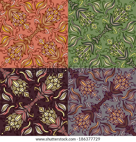 Set of four colorful seamless patterns. Vector illustration. EPS-8.