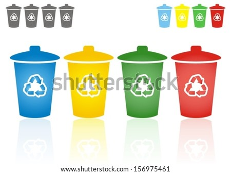set of four coloured recycling bins - waste sorting