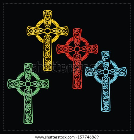 Set of four crosses. vector