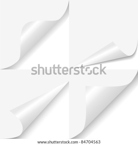 Set of four curled corners of white sheet - stock vector