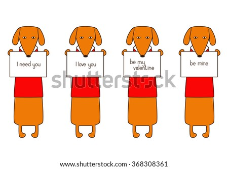 Set of four cute orange colored brown contoured dachshunds in read sweaters with white collars holding plates with different lettering in paws isolated on white background. Flat style illustration - stock vector