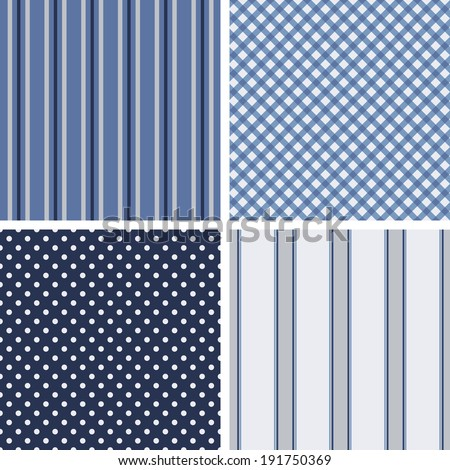 Set of four cute seamless backgrounds. Stripped and polka dot. Ideal for printing onto fabric and paper or scrap booking. Cottage shabby chic style. - stock vector