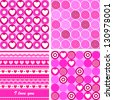 Set of four cute seamless backgrounds with hearts, swirls, flowers and dots in pink - stock vector
