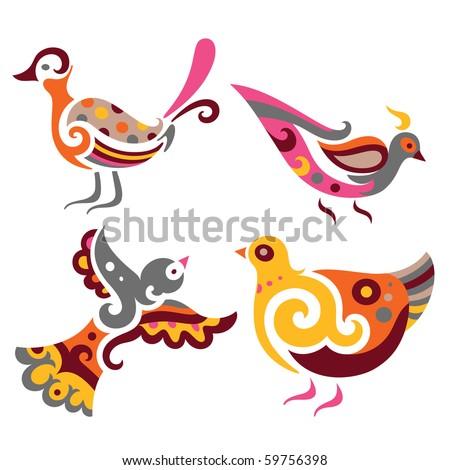 Set of four decorative birds. - stock vector