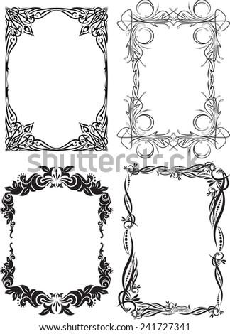 Set of four decorative frames - stock vector