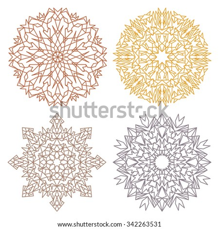 Set of four desert color lacy eastern round ornaments mandalas isolated over white - stock vector