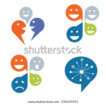 Set of four designs for social networking concept - stock vector
