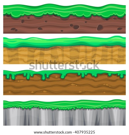 Set of four detailed seamless grounds with grass for video game - stock vector