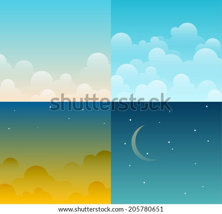 Set of four different bright cartoon vector sky backgrounds. Night, day, morning, sunset. EPS10 vector.  - stock vector