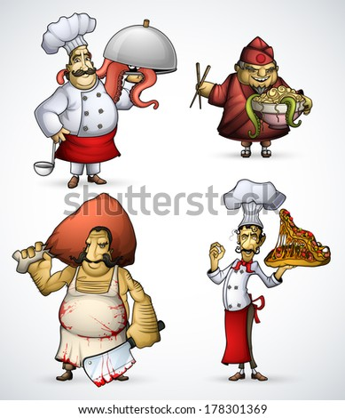 Set of four different chefs with strange dishes - stock vector