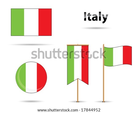 set of four different flags from italy - stock vector