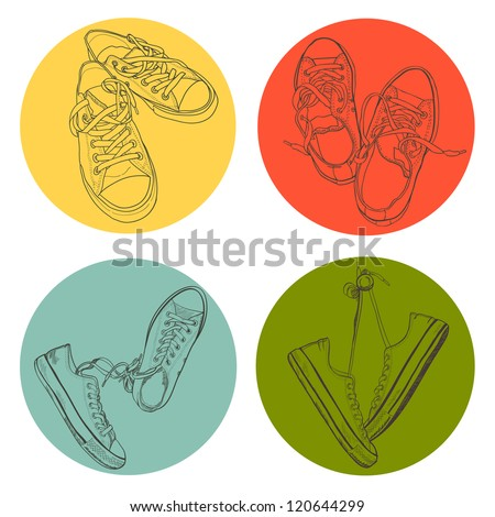 Set of four different pairs of sneakers drawn in a sketch style. Vector illustration. - stock vector