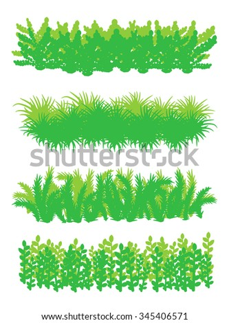 Set of four different plants backgrounds. Vector illustration for your graphic design.