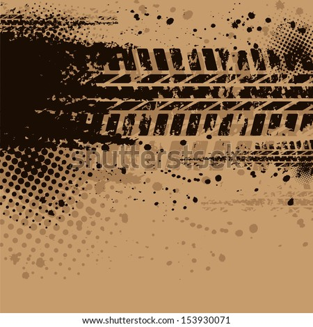 Set of four dirty tire tracks - stock vector