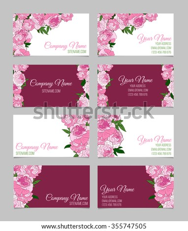 Set of four double-sided beautiful floral business cards with pink peonies