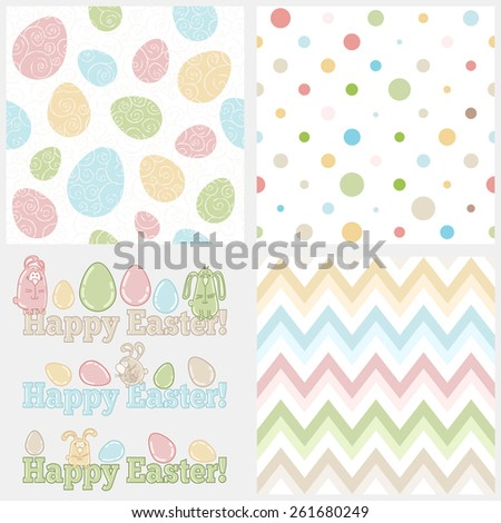 Set of four easter elements - seamless patterns (eggs, polka dots and chevron) and cute easter bunnies with words HAPPY EASTER! Ideal set to create your own invitations, greeting cards, tags, etc - stock vector